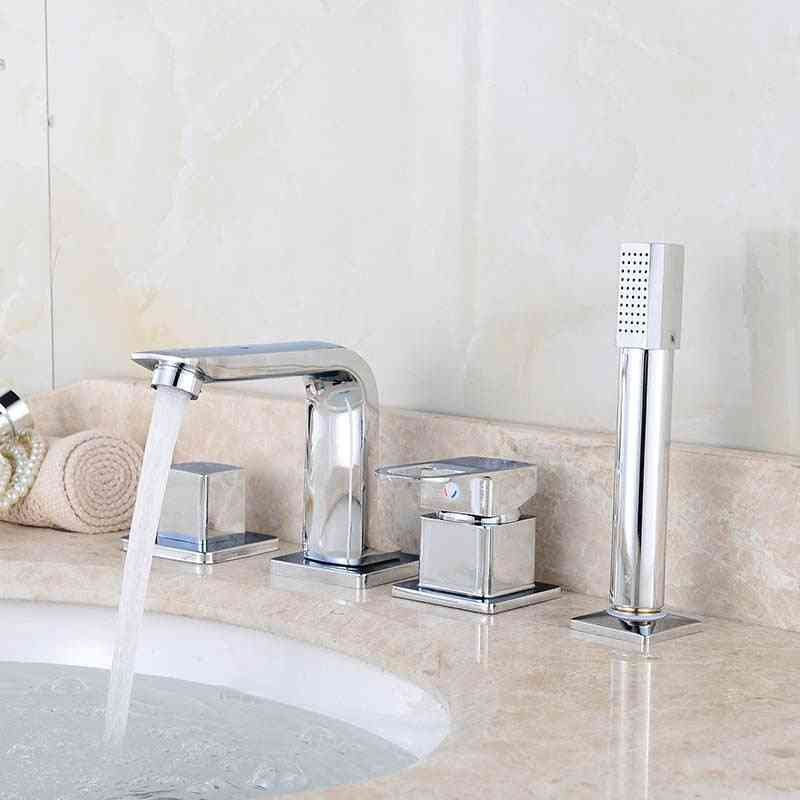 4pcs Set Of Wash Basin, Deck/wall Mounted-handheld Mixer Tap With Shower