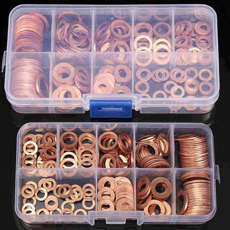 200pcs Copper Washer- Nut And Bolt Set- Flat Ring Seal Assortment Kit