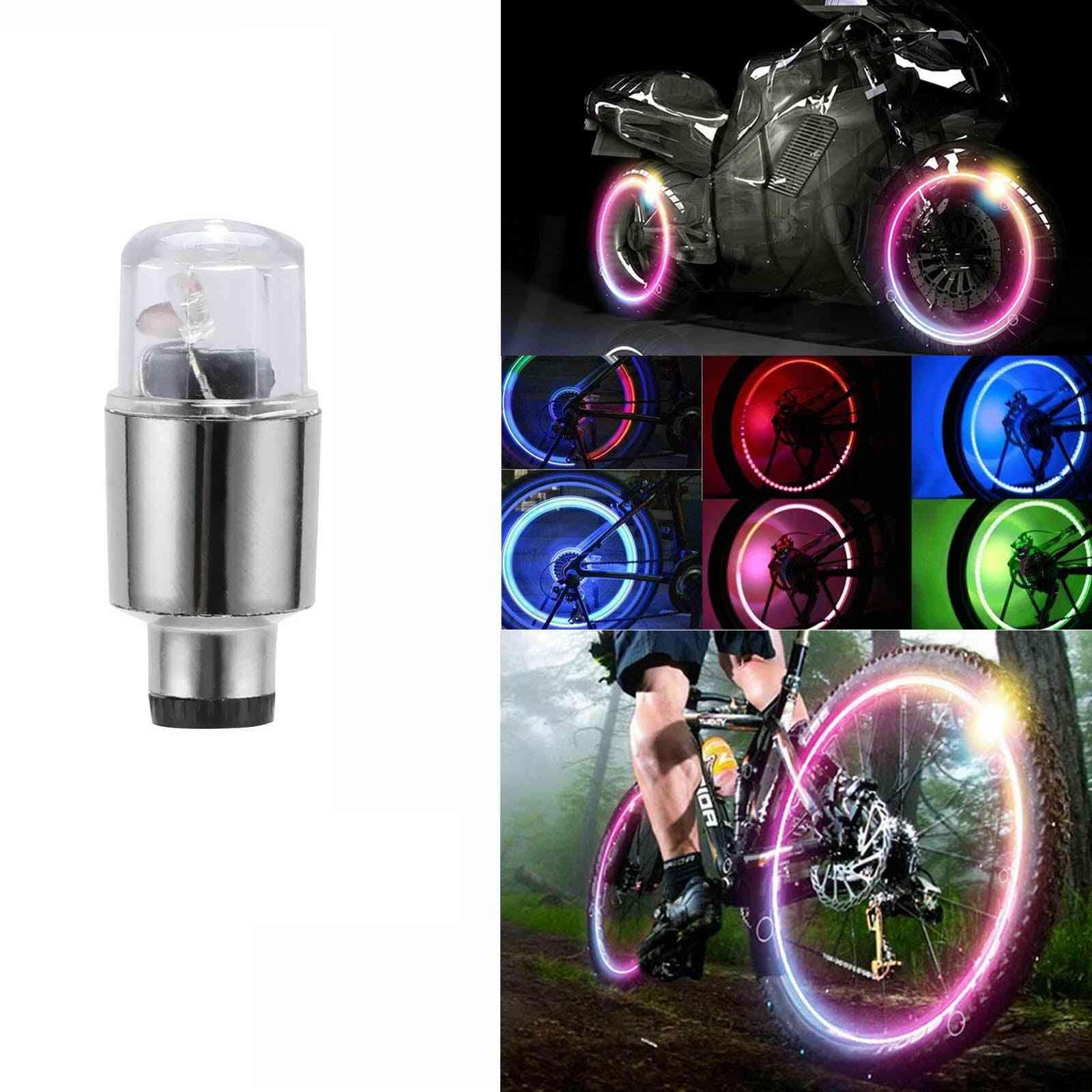 Led Car Bike Wheel Tire Tyre Valve Dust Cap Spoke Flash Lights