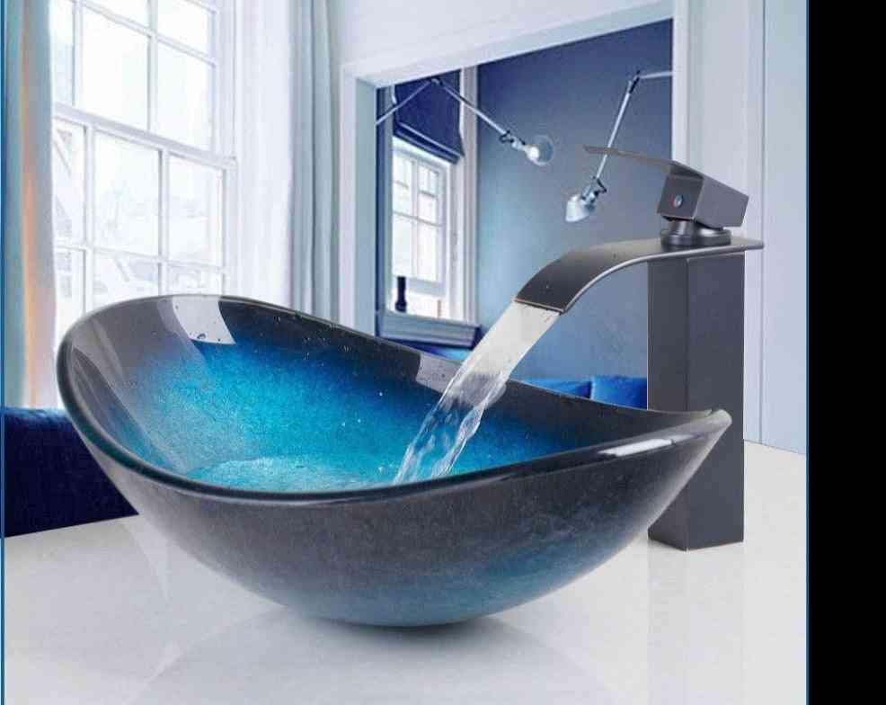 Waterfall Spout Basin Black Tap+bathroom Sink Washbasin