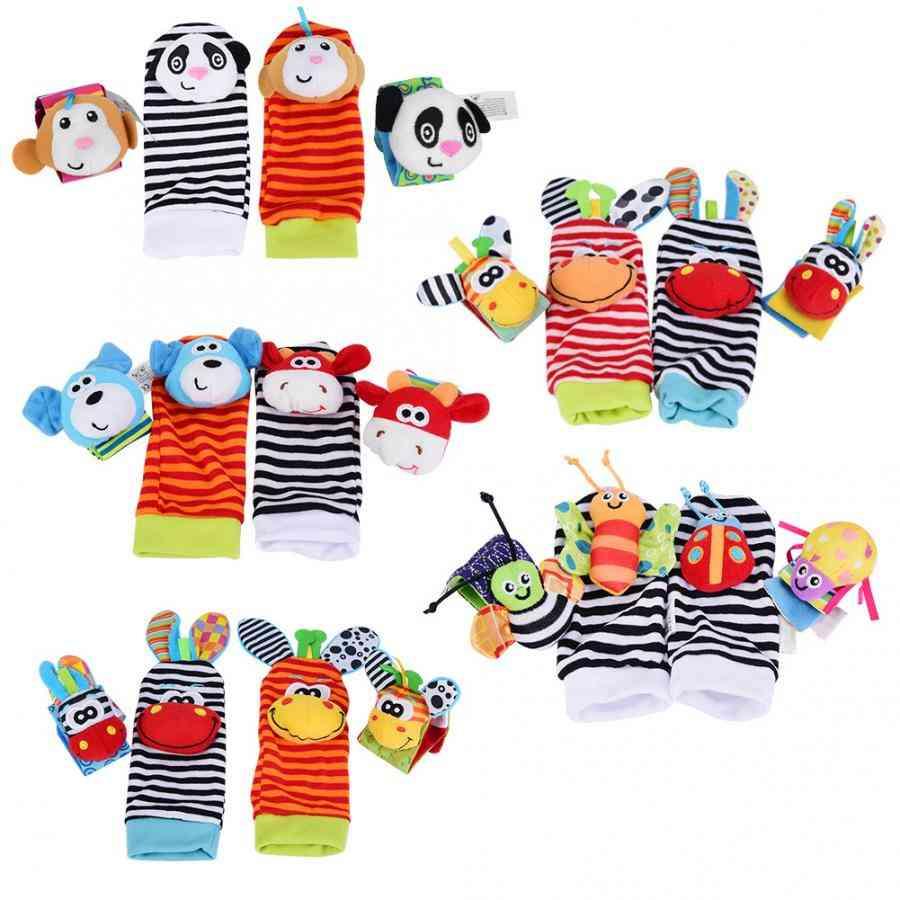 Baby Rattles Toy, 0-12months Wrist Strap Rattles Animal Socks Toy, New Wristbands Infant Soft Handbells Hand Foot Socks