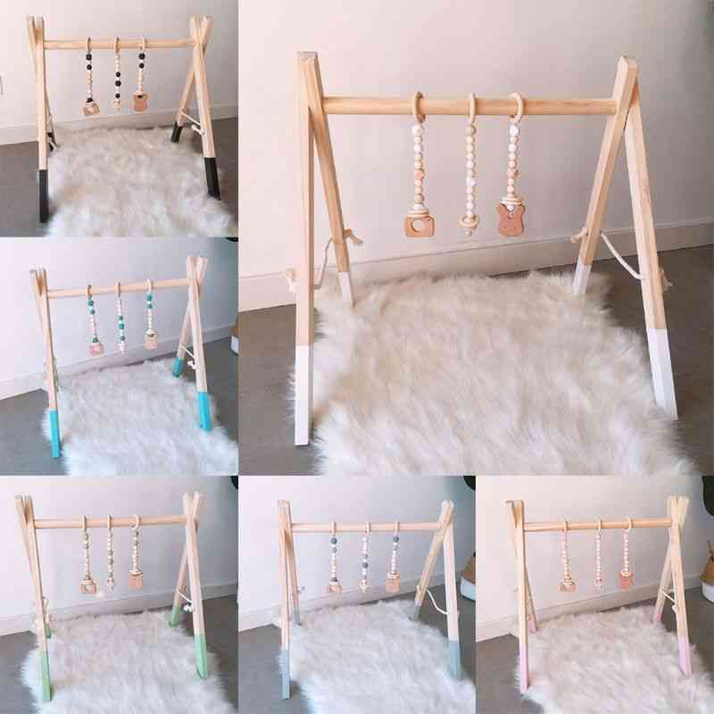 Cartoon Solid Wood Baby Gym Fitness Rack - Room Decoration With Ornaments Pendant Infant Frame