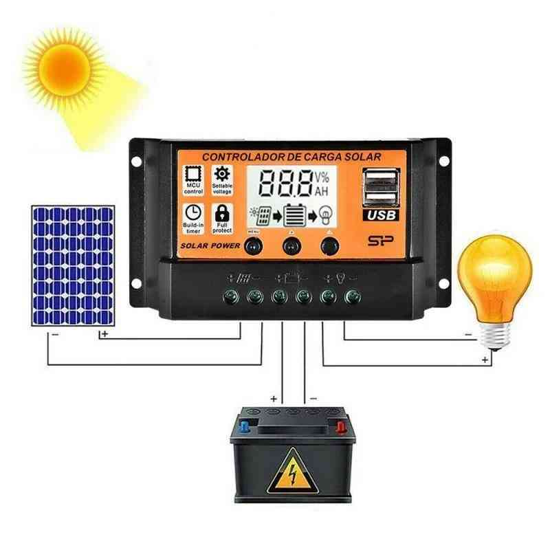 Solar Charge Controller - Panel Battery With Dual Usb Port Mppt/pwm Auto Parameter