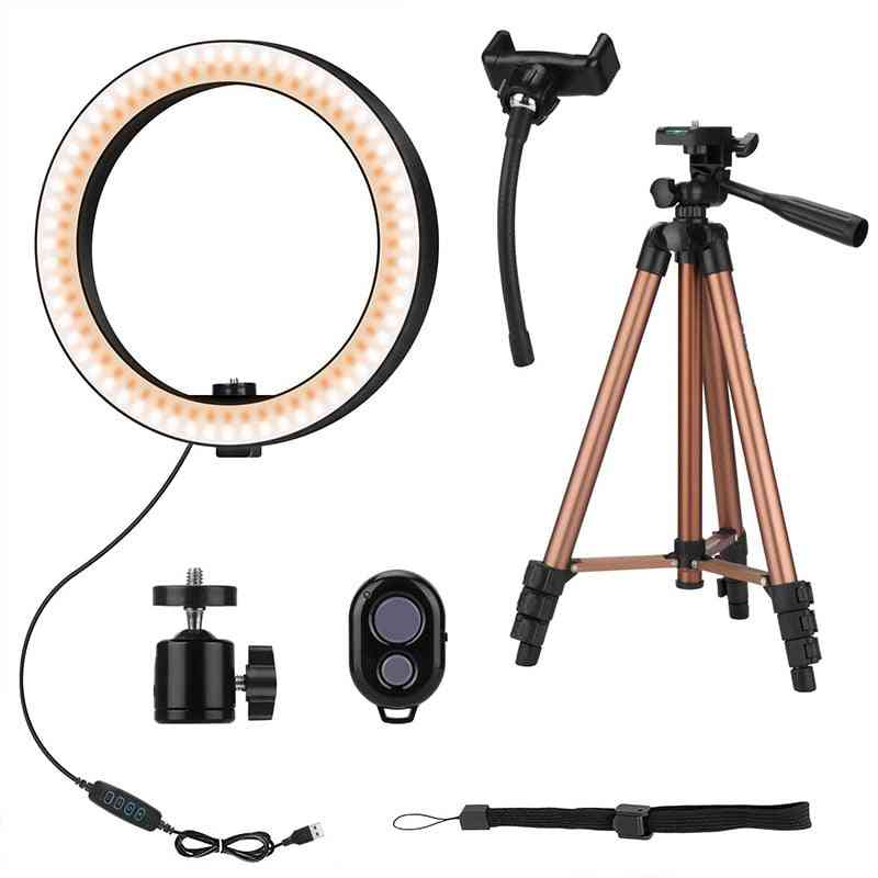 10 Inch Selfie Ring Light With 50 Inch Tripod Stand & Phone Holder For Makeup Live Stream, Led Camera Ring Light