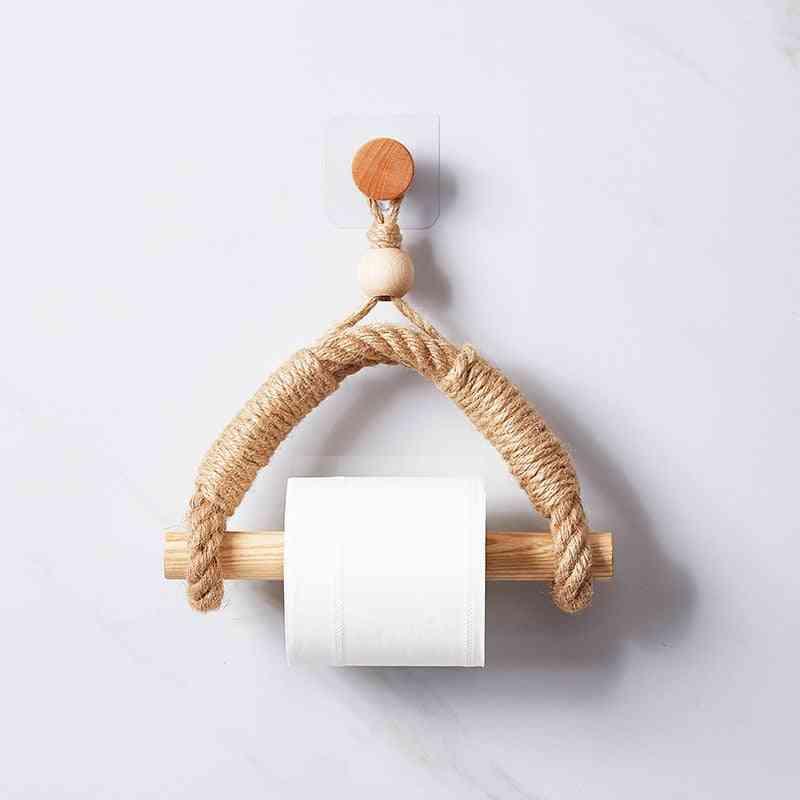 Vintage Towel Hanging Rope And Toilet Paper Holder For Bathroom Decoration