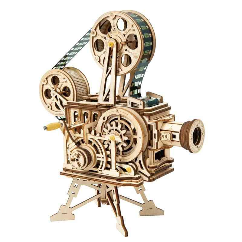 Retro Style Diy-3d Hand Crank, Wooden Film Projector Model-assembly Toy For