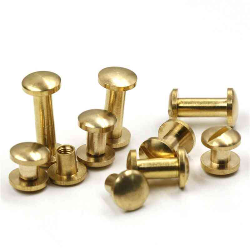 10pcs Solid Brass Binding Chicago Screws Nail Stud Rivets Diferrent Size