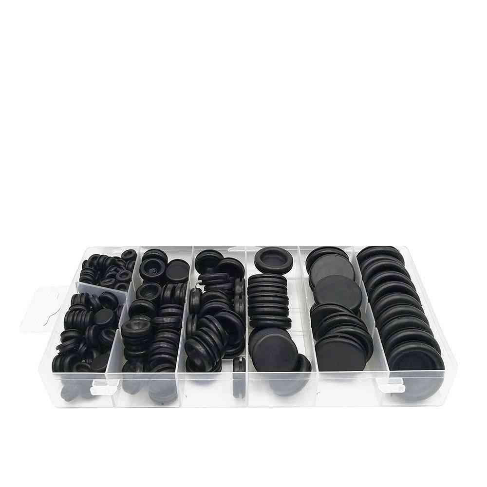 170pcs Black Rubber Grommet, Firewall Hole Plug Retaining Ring Set