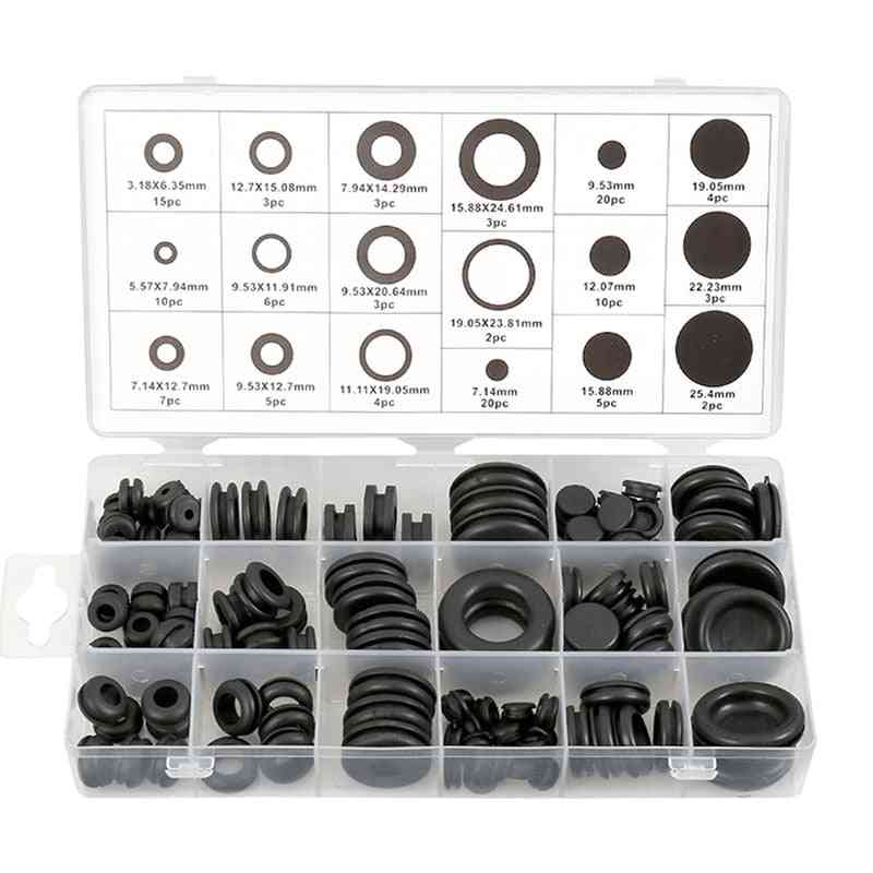 Rubber O-ring Grommets Kits Plug Wire Ring- Assortment Electrical Wire Gasket Tool, Blanking Open Closed Blind Grommet