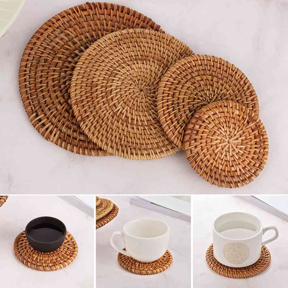 Round Natural Rattan Coasters Bowl Pad - Handmade Insulation Placemats Table Mats