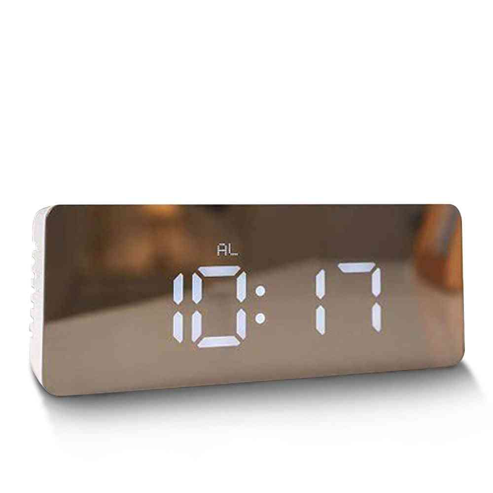 Alarm Snooze Led Digital Mirror, Time Temperature Large Electronic Display - Rectangle Desk Table Clock