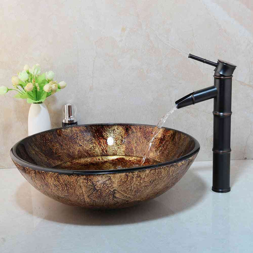 Contemporary Design, Round Shaped, Deck Mounted Glass Sink With Faucet