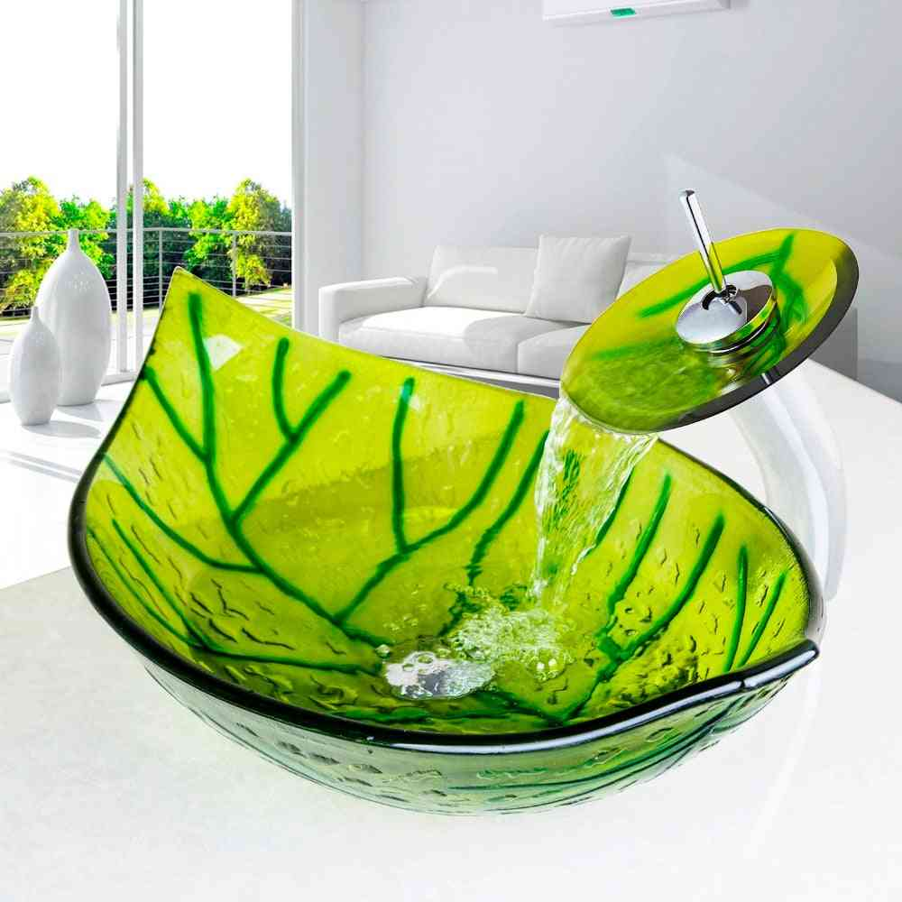 European Inspired Modern-hand Painted, Green Leaf Shape Wash Basin Sink With Faucet