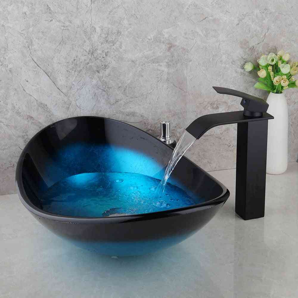 Hand-painted, Tempered Glass, Waterfall Spout Basin And Faucet Set