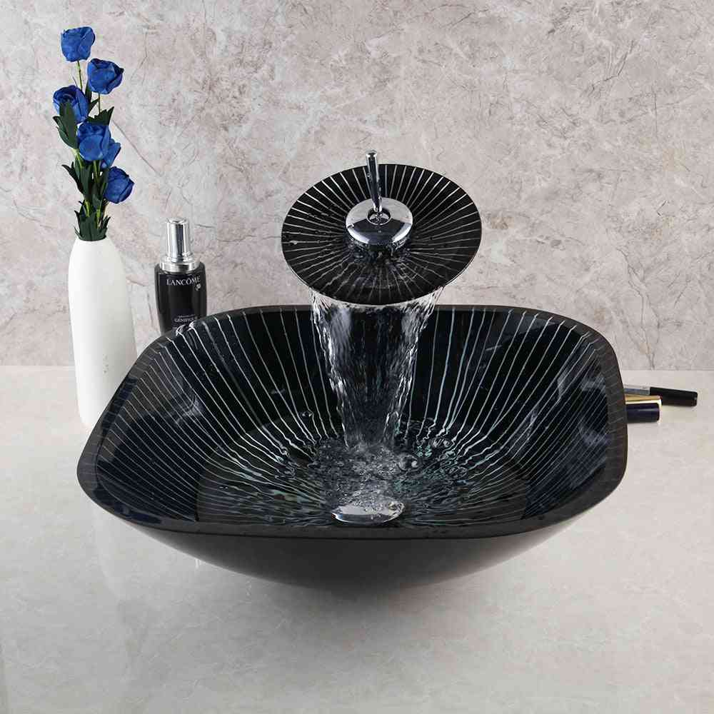 Tempered Glass Basin Sink With Waterfall Faucet Taps
