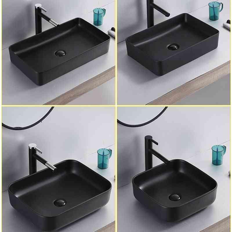 Brazil Overseas Warehouse Basin Ceramic Bathroom Sink White Above Counter With Drain Pipe  Shampoo