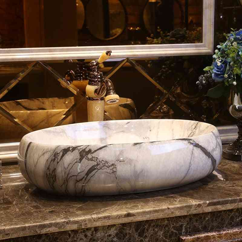 American Style Art Counter Top - Oval Marble Porcelain Wash Basin Lavatory