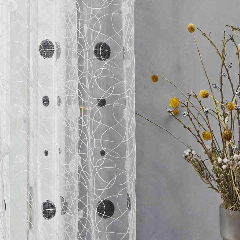 Bird Nest Pattern, Sheer Dots Curtains For Kitchen, Living Room, Bedroom