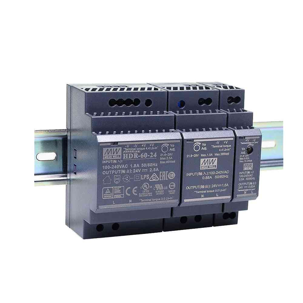 Plastic Case, Step Shape-hdr Series Dc Ultra Slim Din Rail, Power Supply