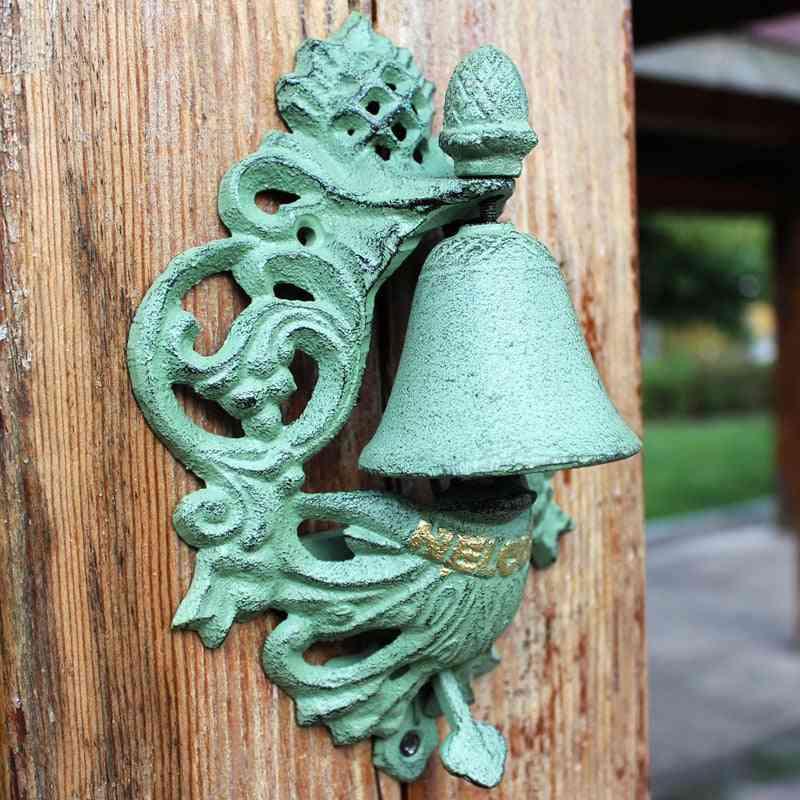 Jd European Style Cast Iron Door Knocker - Crafts Retro Pineapple Logo Hand Press Doorbell
