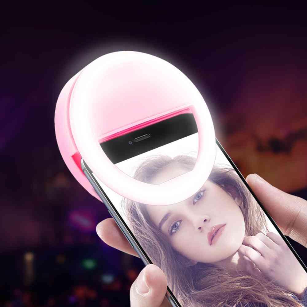 LED Selfie Ring Neuheit Make-up Lichter Dekoration Mobiltelefone Foto Nachtlichtspiegel Neonweiß