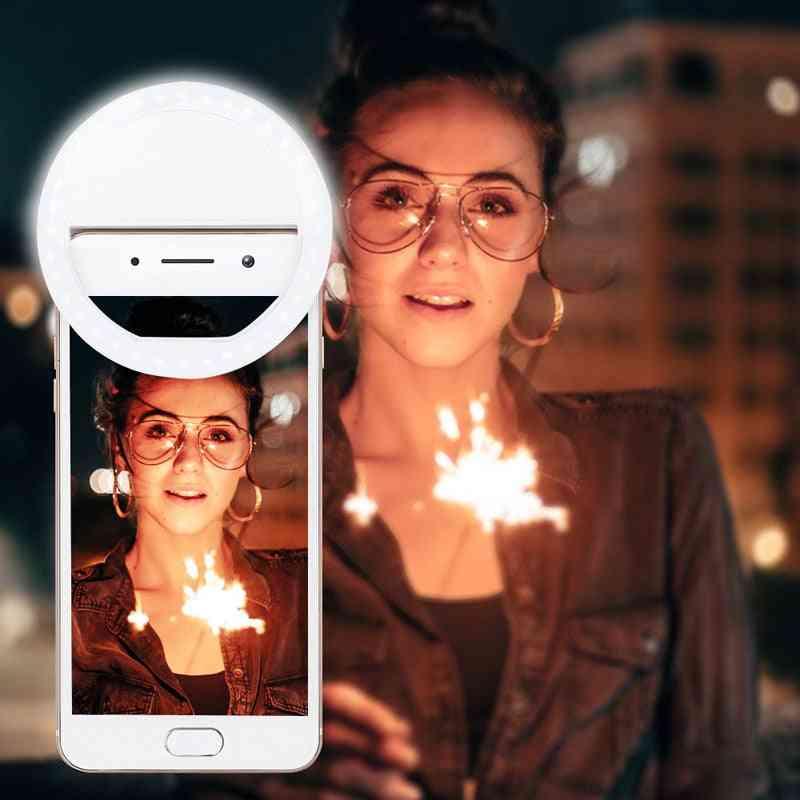 Kannettava led-selfie-rengas taskulamppu sopii hämärään ympäristöön itselaukaisintyökalun valoisa rengasleike matkapuhelinten tabletteihin