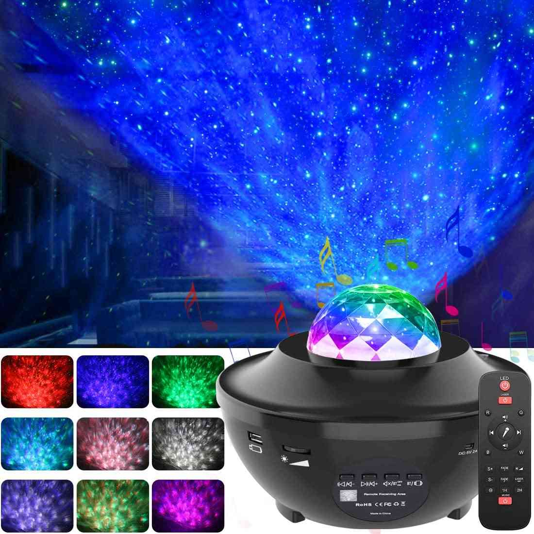 Colorful Starry Sky Projector Night Light Sea Wave Atmosphere Lamp With Bluetooth Music Speaker