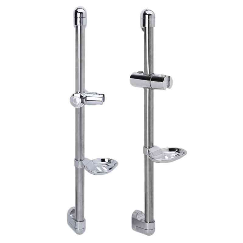 Adjustable Stainless Steel Shower Rod With Soap Dish Lifting Frame