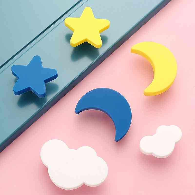 Children Rubber Door Handles, Cute Pink Heart Star Moon Cloud Knobs