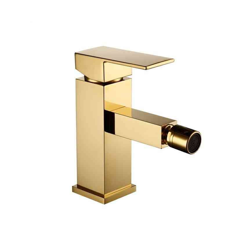 Bathroom Faucet Solid Brass Square Style Polished Finish - Bidet Single Lever Mixer Water Tap