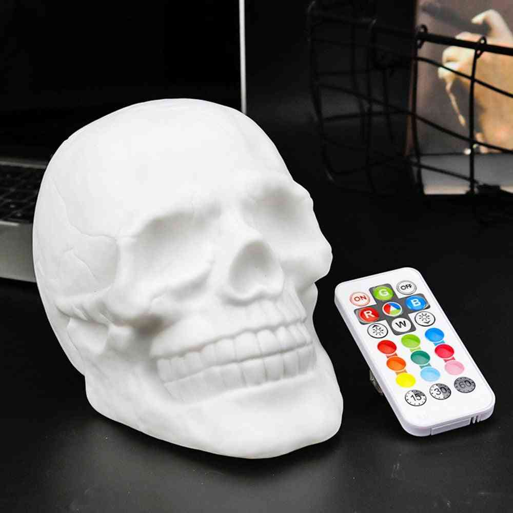 Remote Control Color Changeable Touch Sensor Skull, Led Night Light Lamp With Battery
