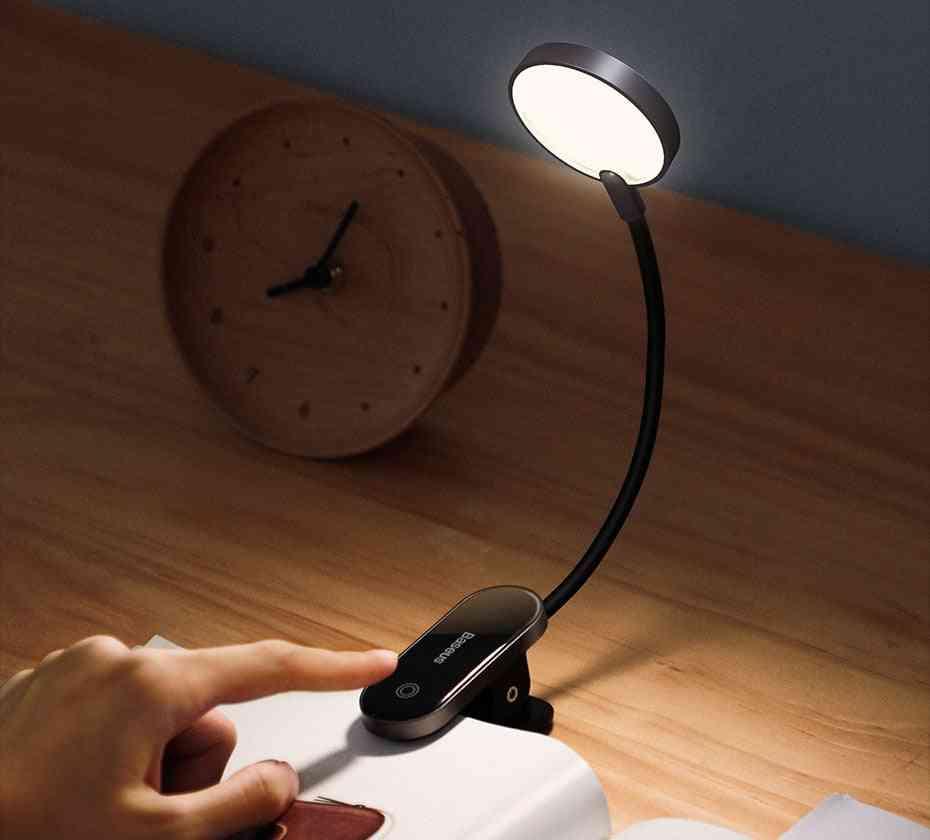 Book Light Usb Led -rechargeable Mini Clip-on Desk Lamp