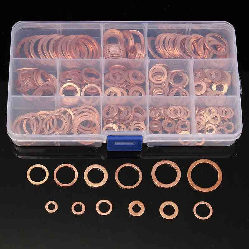 Solid Copper Crush Washers - Assorted Seal Flat Ring Set With Box