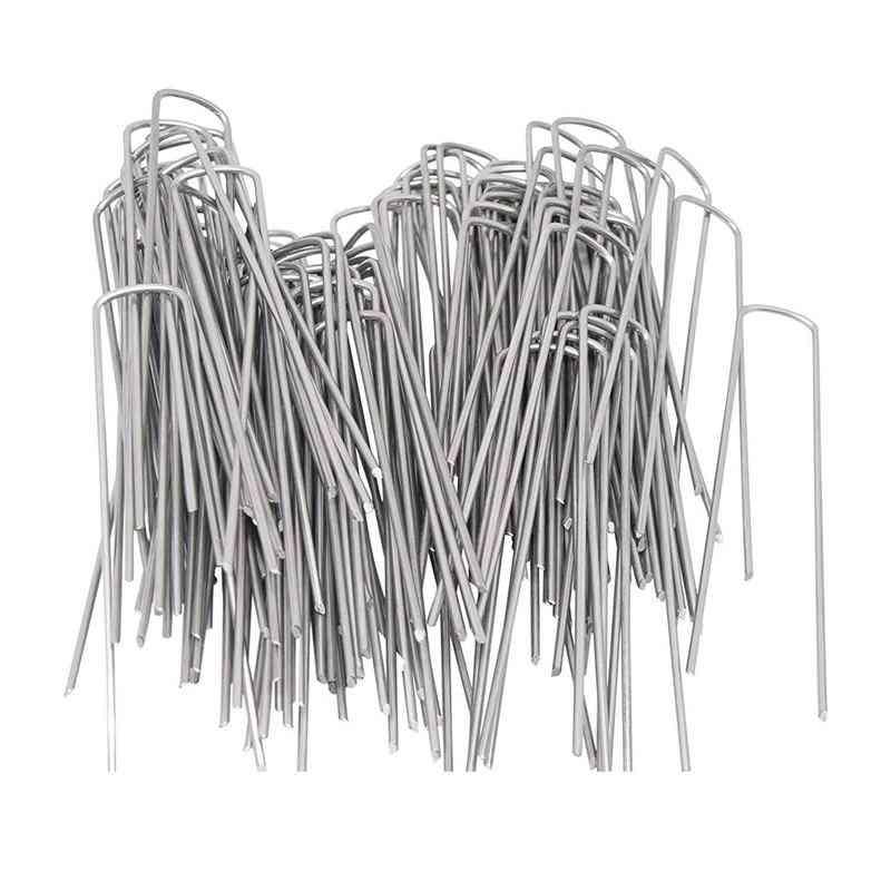 100 Pcs Garden Pegs/ground Staplest, Rust Resistant Steel U Pins