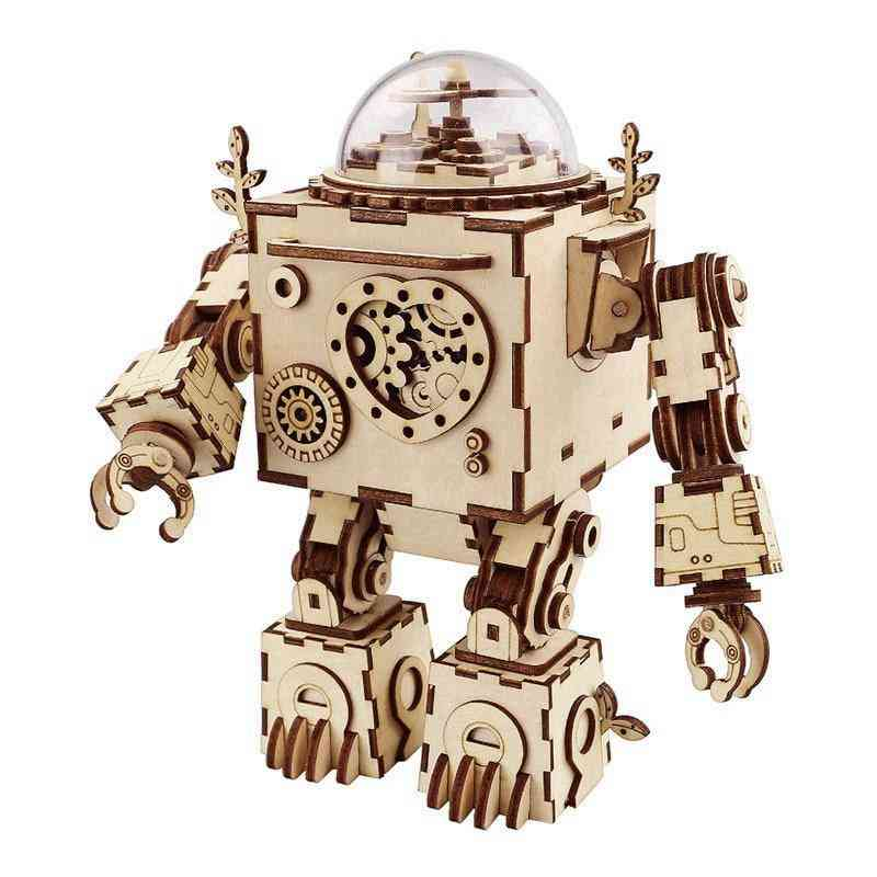 Steampunk Music Box- Diy Rotatable, Wooden Model Toy For