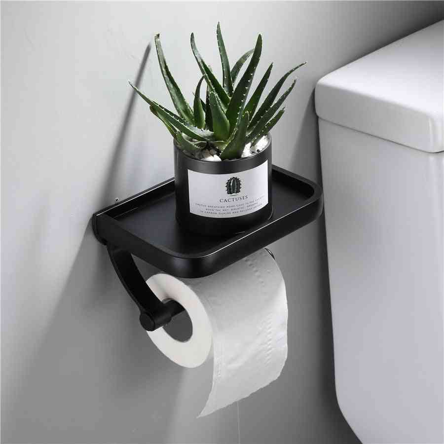Wall Mounted Toilet Paper Holder With Phone Storage