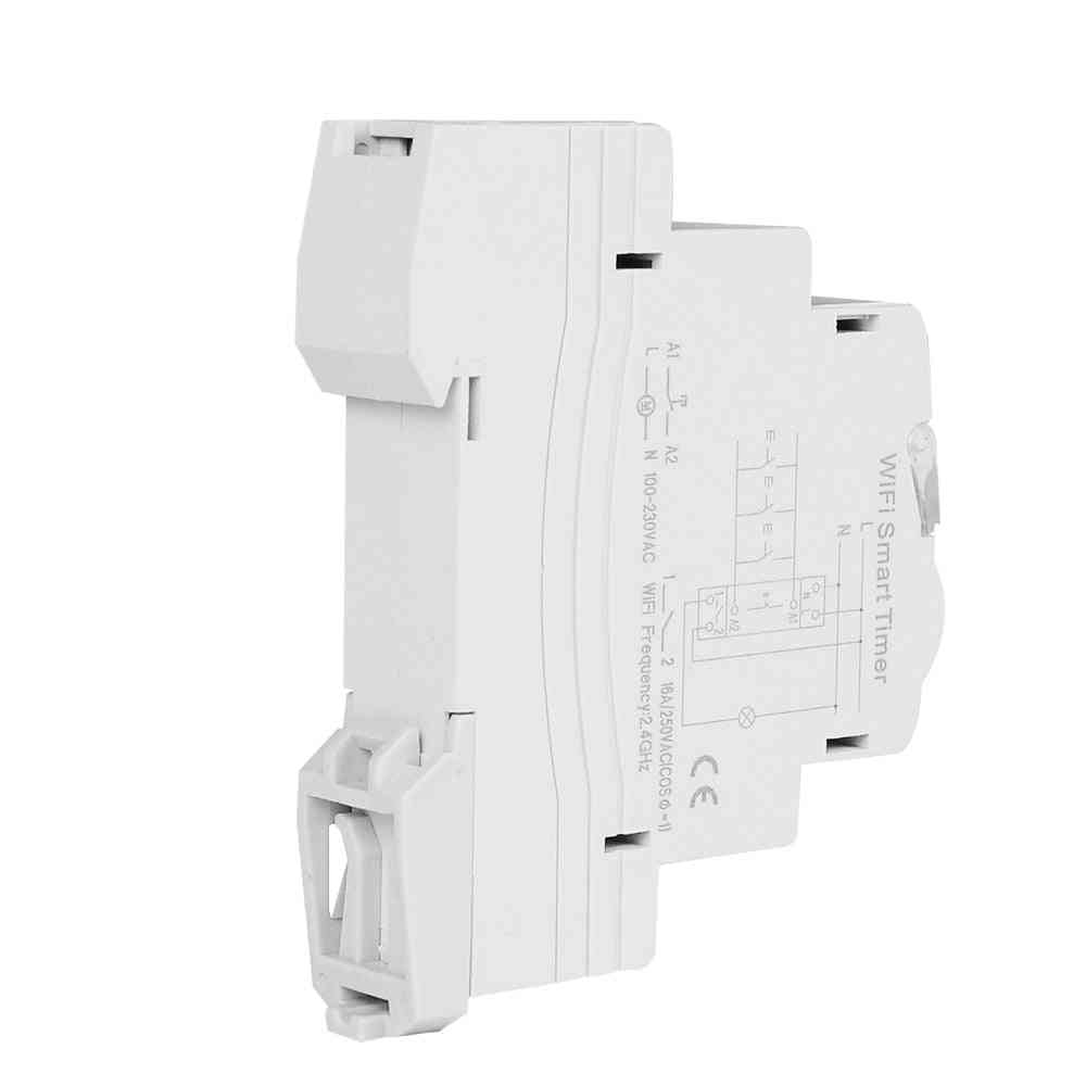 Smart Wifi, Remote & App Control Circuit Breaker Timing Switch Staircase Timer - Din Rail Universal 110v/220v Ac Input