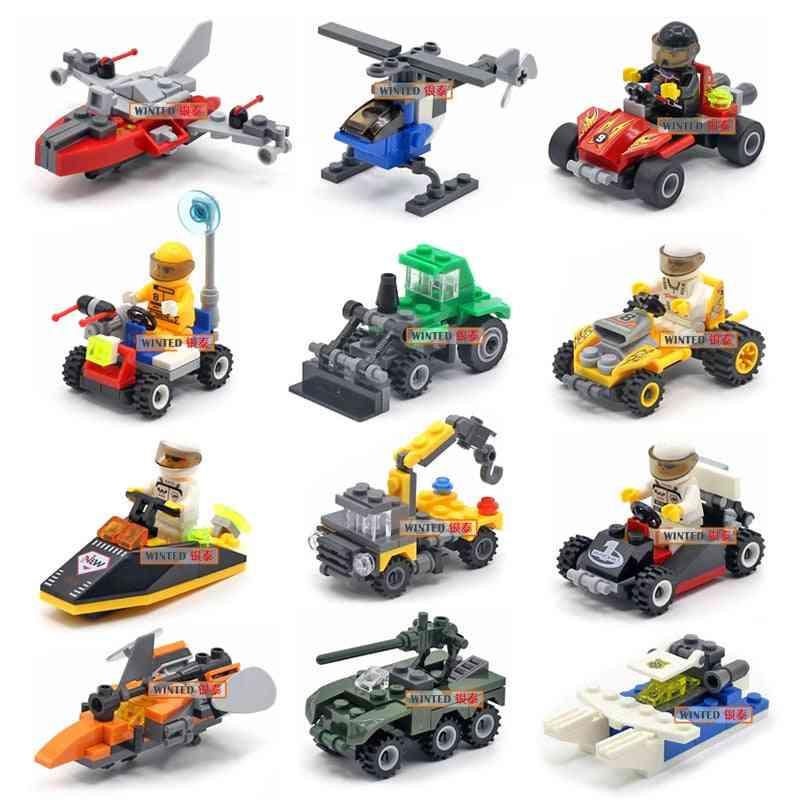 Mini Transportation Assembled Models Blocks - Car Compatible, Police Plane, Bricks