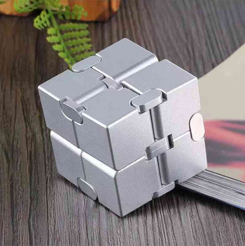 Infinity Aluminum Cube, From Premium Metal- Stress Reliever For Edc Anxiety