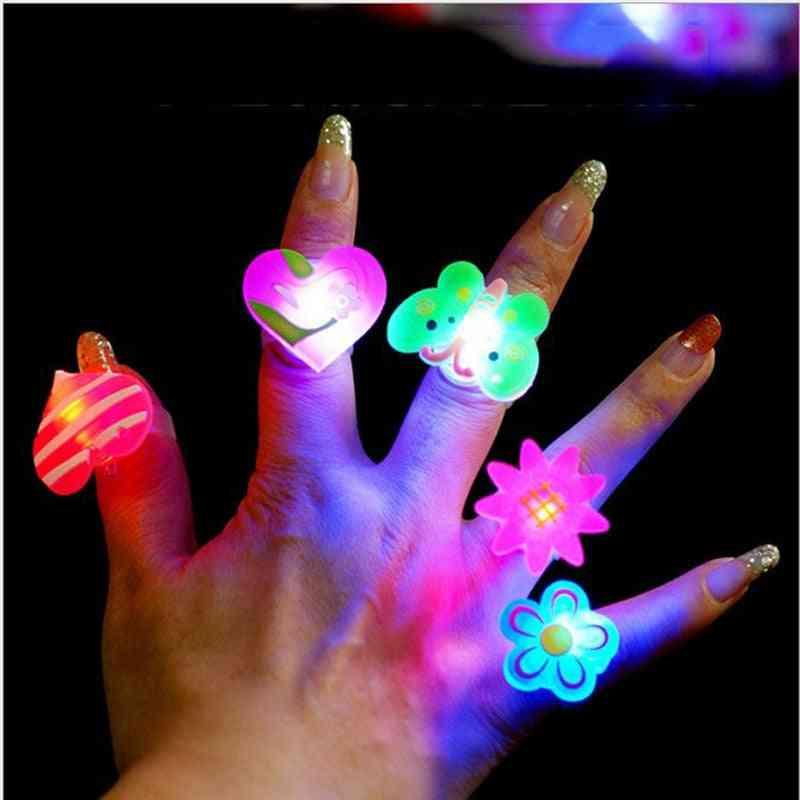 Led Glowing Finger Rings- Luminous Flashing For Kids