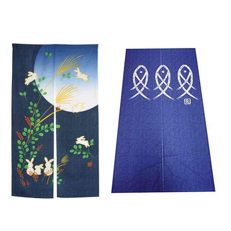 Window Tapestry & Doorway Curtain - Noren Rabbit Under Moon