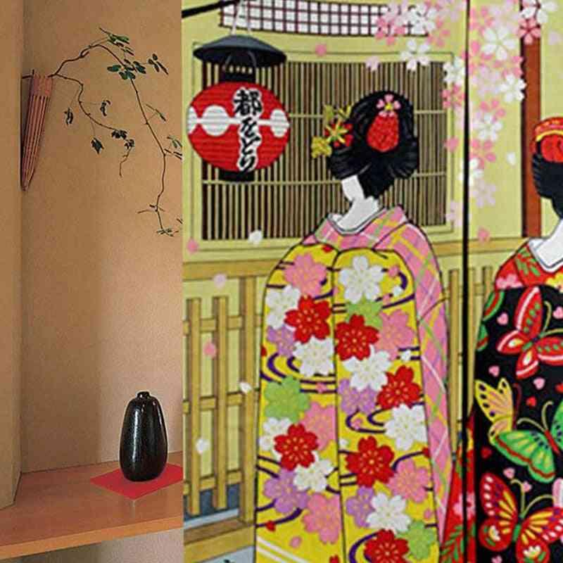 Long Doorway Curtain - Kyoto Geisha & Cherry Blossom Window Treatment Tapestry
