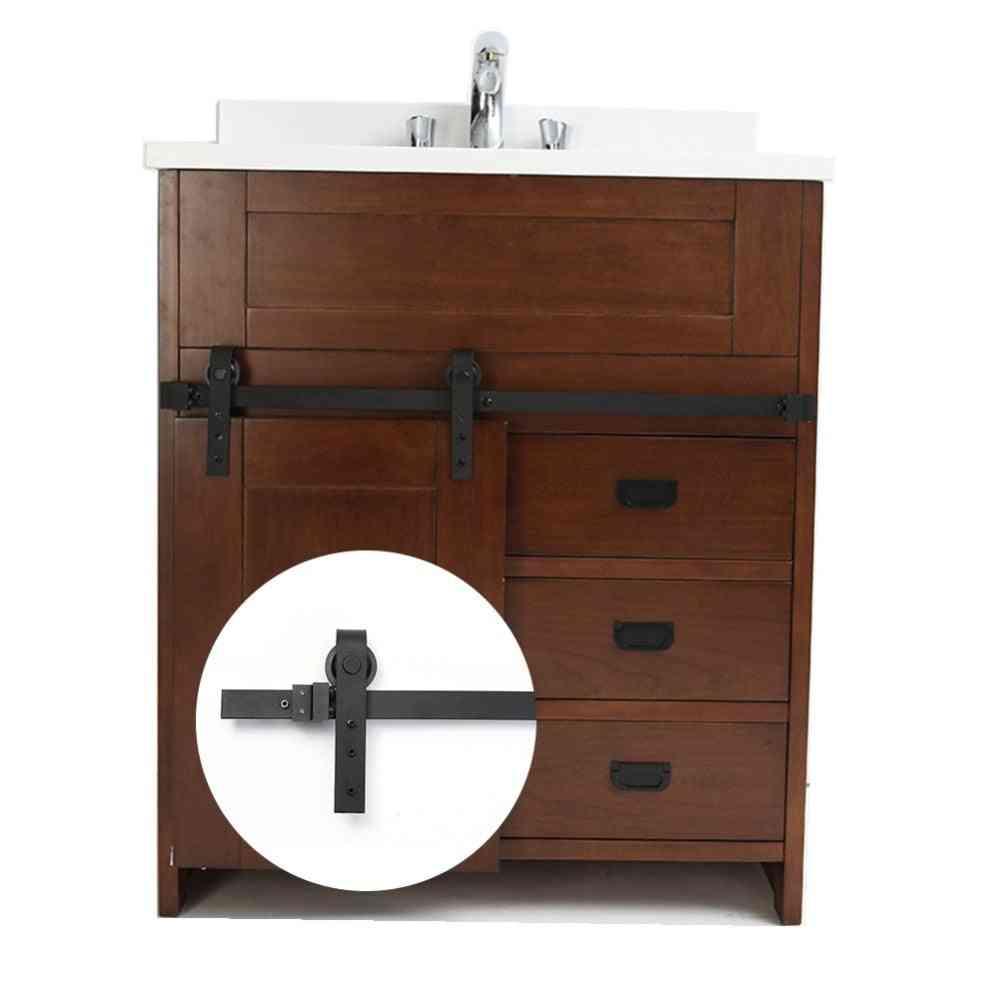 Mini Sliding Barn Door Hardware - Carbon Steel Sliding System For Bathroom Cabinet
