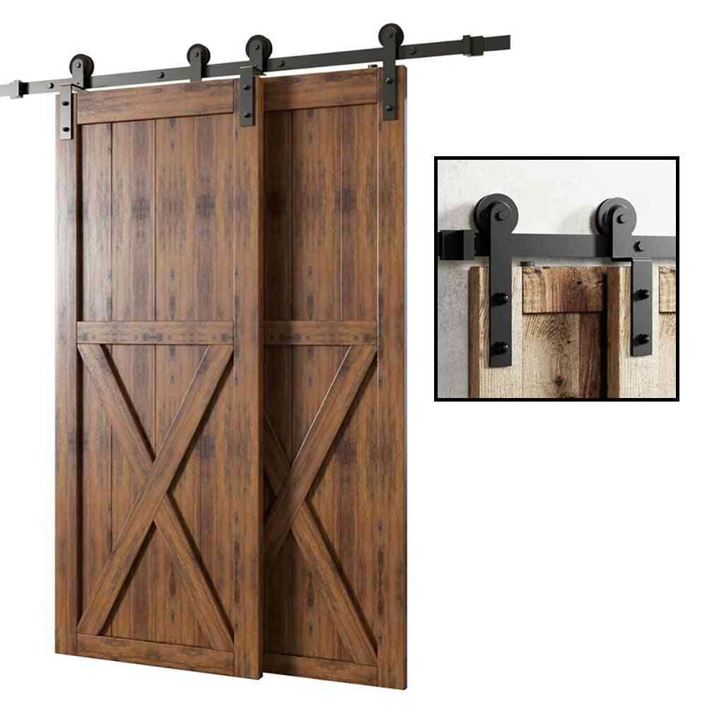I-shaped 4-9.6ft Bypass Sliding Barn Door Hardware Track Bent Hanger System