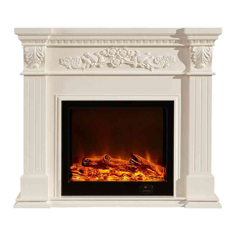 European Style Fireplace Set - Wooden Mantel W120cm Electric Insert Burner Artificial Led Optical Flame Decoration