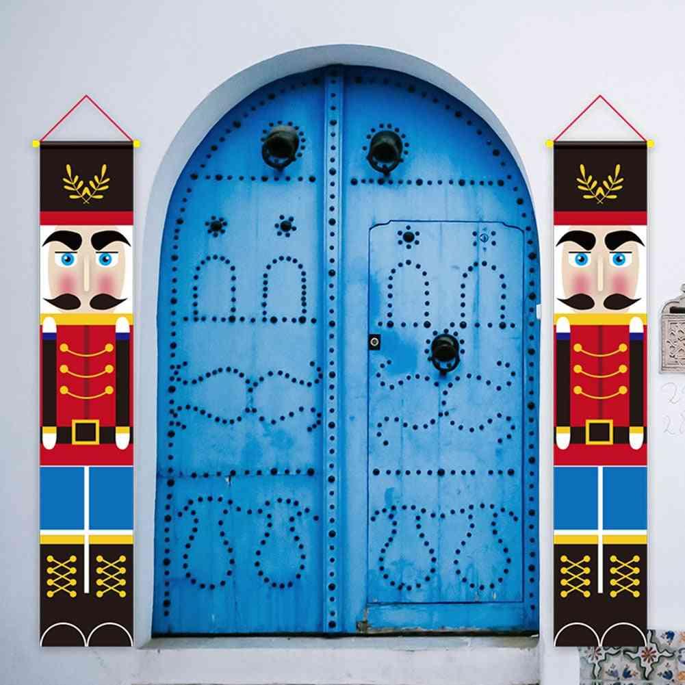 Christmas Walnut Couplet Front Door Flag