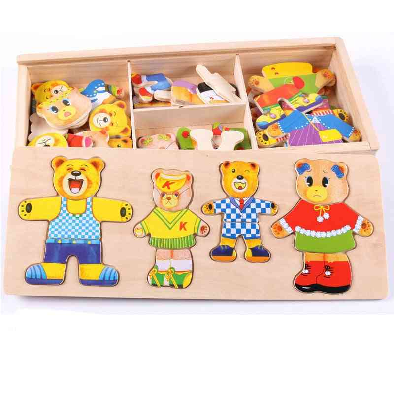 Little Bear Changing Clothes, Wooden Box Puzzle Set - Educational Toy For Kids