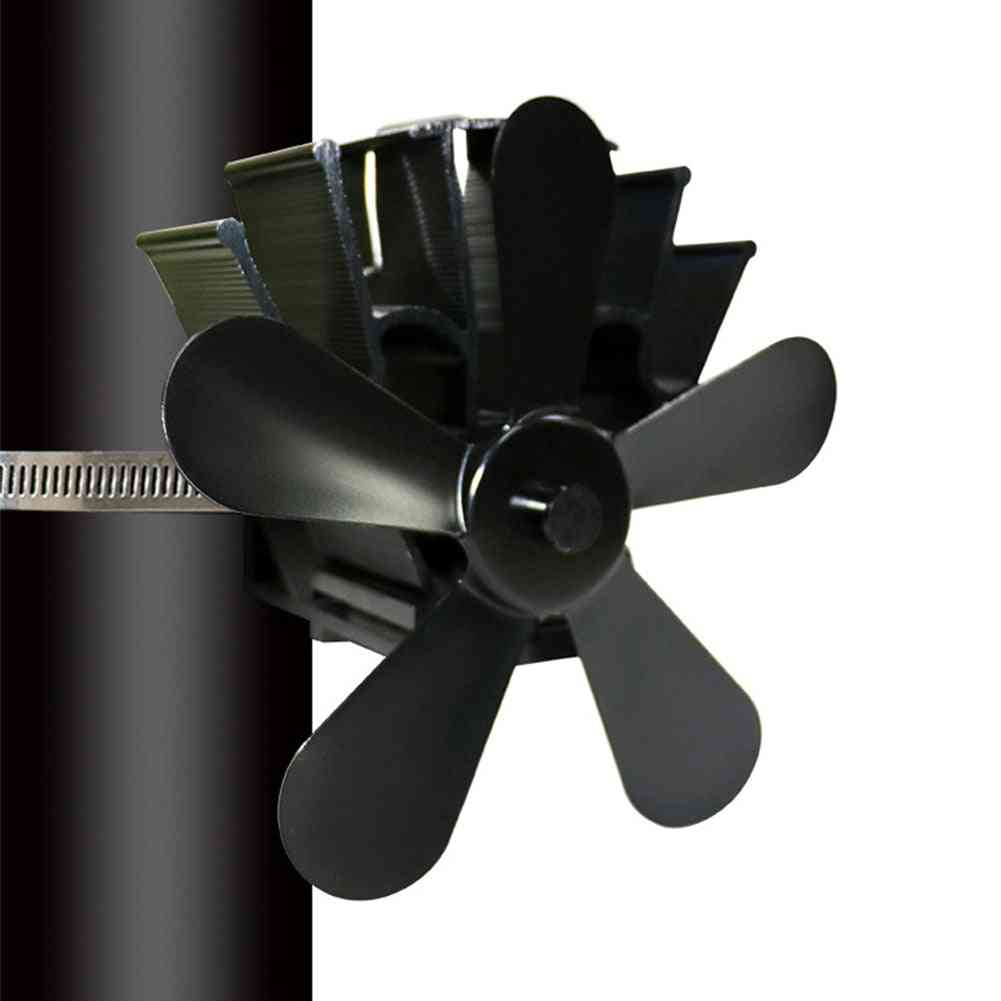 Powered Fireplace Fan - Aluminum Modern 5 Blades Warm Burner