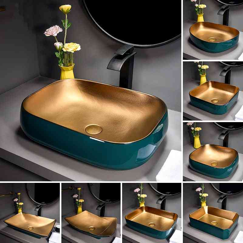 Metal Glaze, Nordic Art Counter Top-high-end Wash Basin