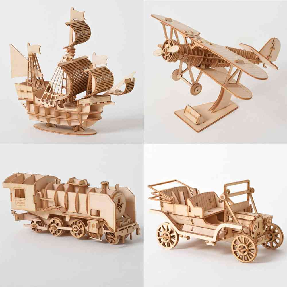 3d Wooden Puzzle Assembly, Laser Cutting Sailing Ship - Biplane, Steam Locomotive For Kids
